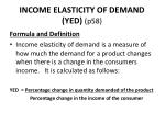 income elasticity of demand yed p58