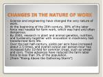 changes in the nature of work