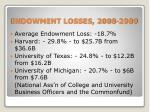 endowment losses 2008 2009