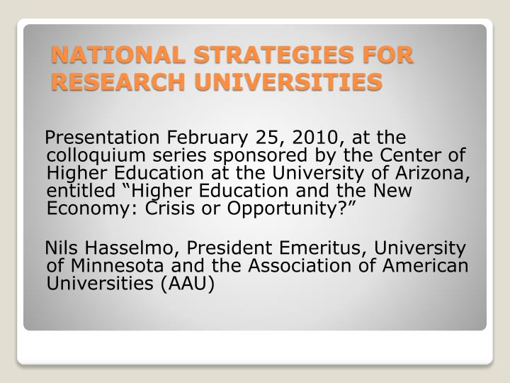 national strategies for research universities n.