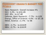 president obama s budget for fy2011