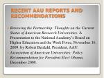 recent aau reports and recommendations