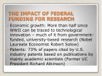 the impact of federal funding for research