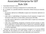 associated enterprise for sdt rule 10a