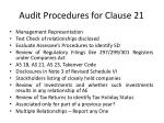 audit procedures for clause 21