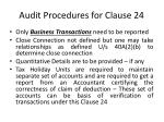 audit procedures for clause 24