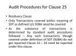 audit procedures for clause 25