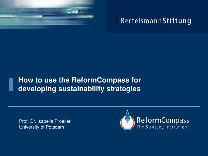 how to use the reformcompass for developing sustainability strategies n.