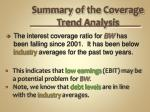 summary of the coverage trend analysis