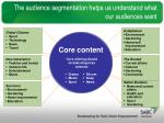 the audience segmentation helps us understand what our audiences want