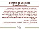 benefits to business illness prevention