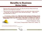 benefits to business worker safety