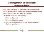 getting down to business implementation