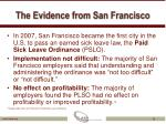 the evidence from san francisco