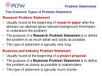 two common types of problem statement