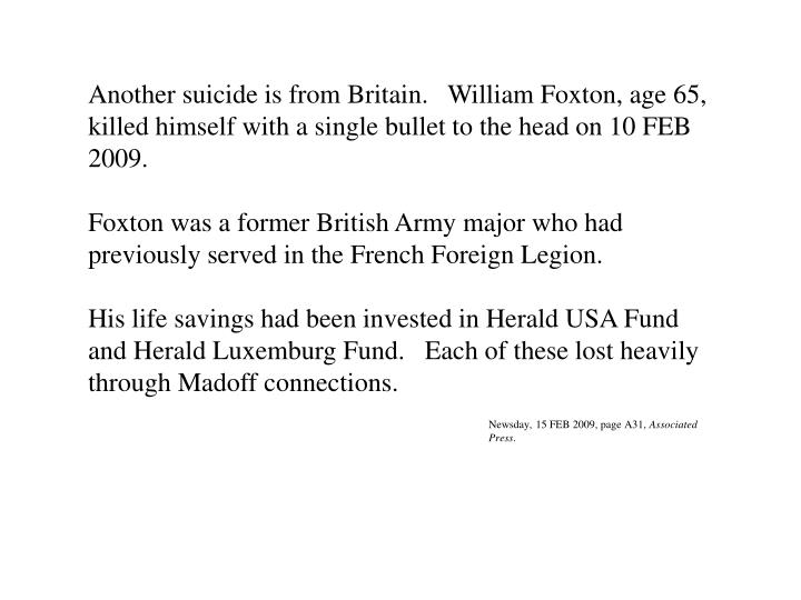 Another suicide is from Britain.   William