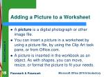 adding a picture to a worksheet