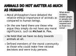 animals do not matter as much as humans
