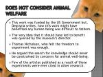 does not consider animal welfare1