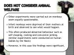 does not consider animal welfare2