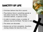 sanctity of life