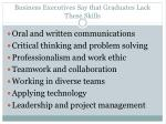 business executives say that graduates lack these skills