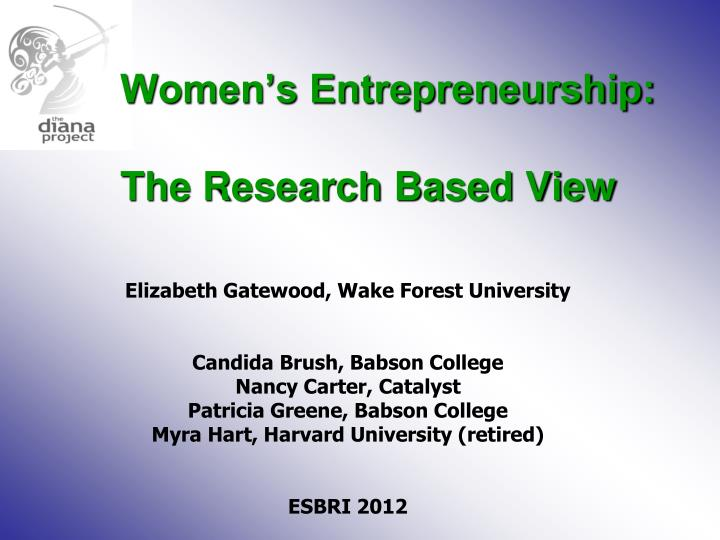 women s entrepreneurship the research based view n.
