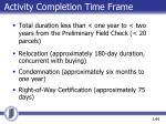 activity completion time frame