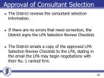 approval of consultant selection1