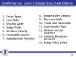 conformance level 1 design exception criteria