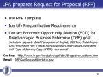 lpa prepares request for proposal rfp