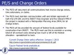 pe s and change orders