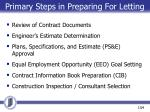 primary steps in preparing for letting