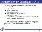 responsibility for design and qc qa