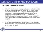 section v term and schedule