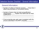 selection review checklist general information