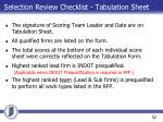 selection review checklist tabulation sheet