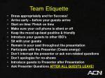 team etiquette