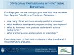 developing partnerships with potential employers