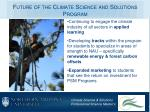 future of the climate science and solutions program