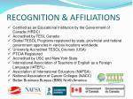 recognition affiliations