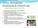 tesol programs overview structure