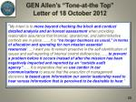 gen allen s tone at the top letter of 18 october 20122