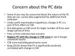 concern about the pc data