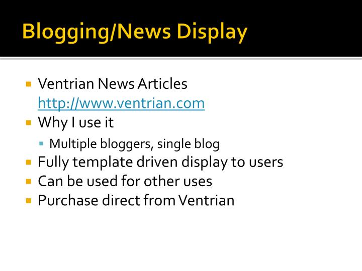 Blogging/News Display