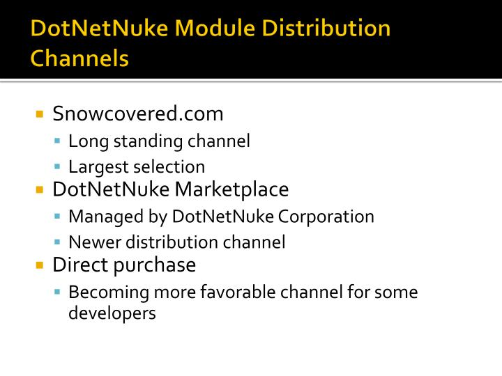 DotNetNuke Module Distribution Channels