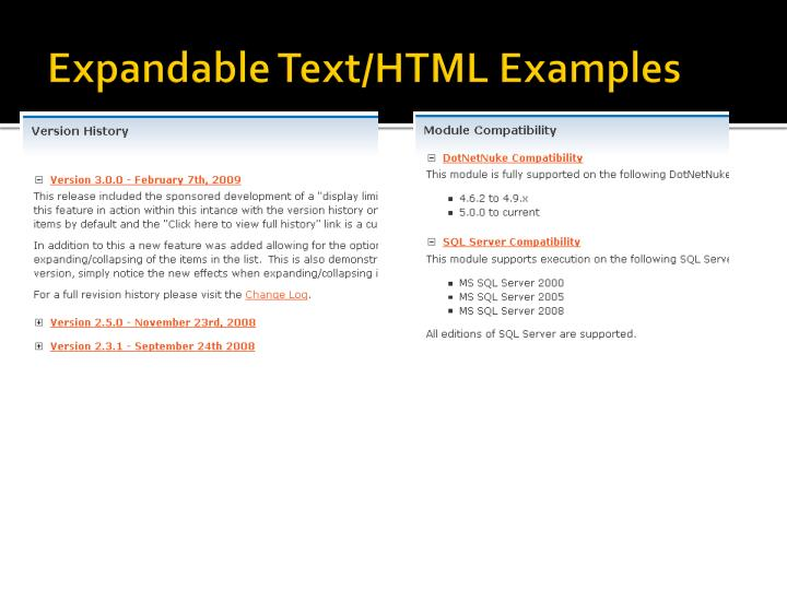 Expandable Text/HTML Examples
