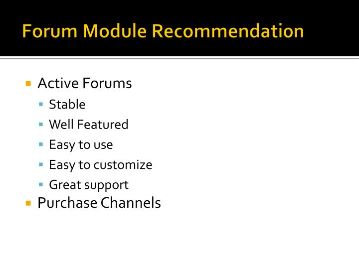 Forum Module Recommendation
