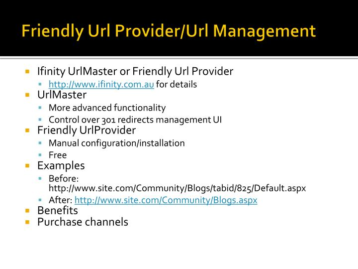 Friendly Url Provider/Url Management