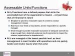 assessable units functions